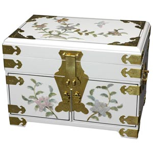Daisi White Jewelry Box with Mirror