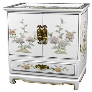 Empress Lacquer Jewel Box (White), Width - 16 Inches