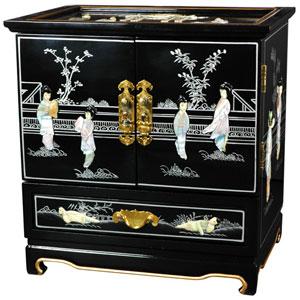 Empress Lacquer Jewel Box (Black), Width - 16 Inches