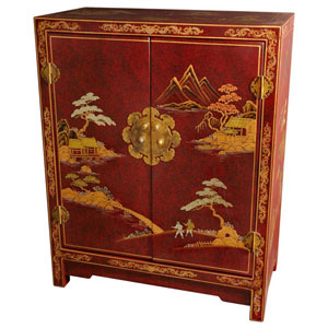Red Crackle Lacquer Cabinet, Width - 24 Inches
