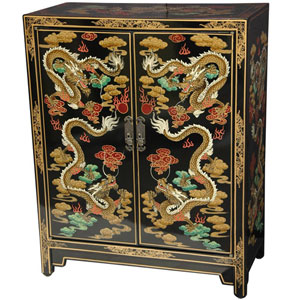 Black Dragons Lacquer Shoe Cabinet, Width - 24 Inches