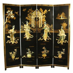 Lacquer Black 6-Foot Tall Lady Generals Screen Room Divider