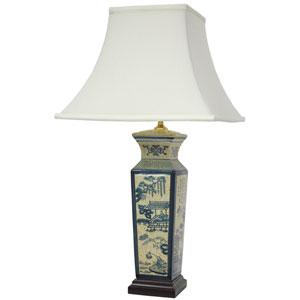 26-inch Blue Landscape Porcelain Lamp