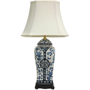 26-inch Floral Blue and White Vase Lamp