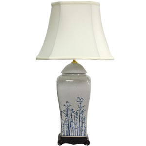 26-inch Blue and White Spring Forest Porcelain Vase Lamp