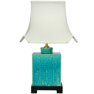 20-inch Turquoise Porcelain Lamp