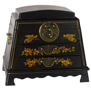 Black Lacquer Rounded Jewelry Box
