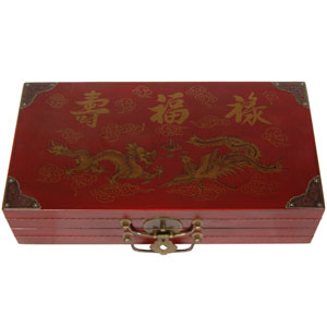Red Lacquer Chess Set Box, Width - 16.25 Inches