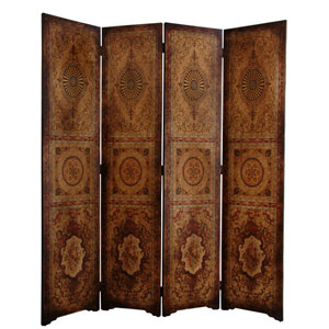 Six Ft. Tall Olde - Worlde Parlor Room Divider, Width - 63 Inches