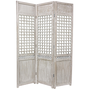 White 6 Ft. Tall Open Lattice Room Divider