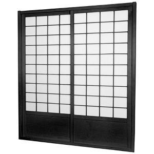 Black 7-Foot Tall Zen Shoji Double-Sided Sliding Door Kit