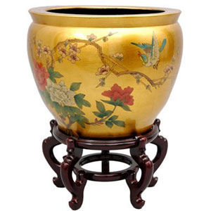 16 Inch Gold Leaf Birds and Flowers Fishbowl