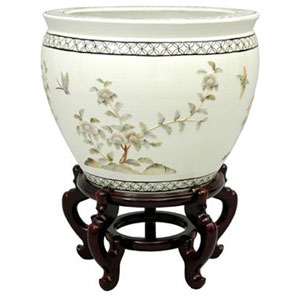 16 Inch White Birds and Flowers Fishbowl
