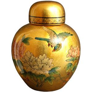 Gold Leaf Ginger Jar, Width - 9.5 Inches