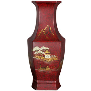 Red Crackle Hexagonal Vase, Width - 6 Inches