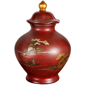 Red Crackle Temple Jar, Width - 9 Inches
