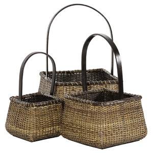 Rattan Beige and Tan Square Handle Basket, Set of 3