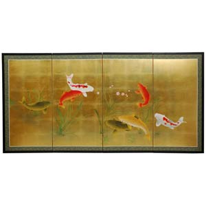 Gold Leaf Seven Lucky Fish Silk Screen