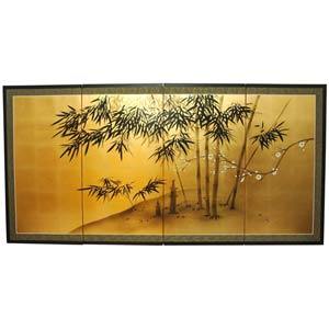 69.5-Inch Gold Leaf Bamboo Silk Screen