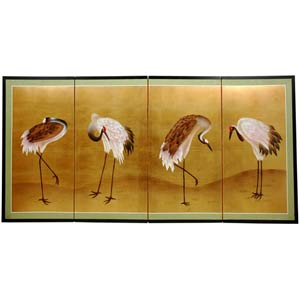 Gold Leaf Cranes Silk Screen