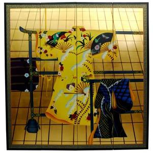Gold Leaf Kimono Silk Screen