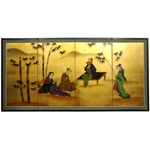 Ladies & Bamboo on Gold Leaf Silk Screen