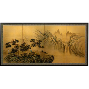 36-inch Mountaintop Waterfall on Gold Leaf