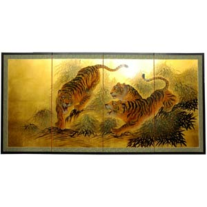 Gold Leaf Tigers on the Move Silk Screen