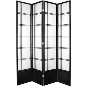 7-Foot Tall Double Cross Shoji Screen - Black - 4 Panels