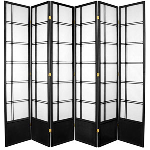 7-Foot Tall Double Cross Shoji Screen - Black - 6 Panels