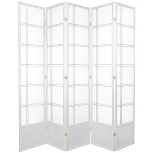 7-Foot Tall Double Cross Shoji Screen - White - 5 Panels