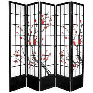 7 ft. Tall Cherry Blossom Shoji Screen - Black - 5 Panels