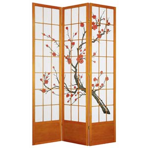 Honey Three-Panel 84-Inch Cherry Blossom Shoji Screen