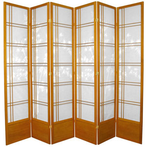 Seven Ft. Tall Bamboo Tree Shoji Screen - Honey Six Panel, Width - 105 Inches