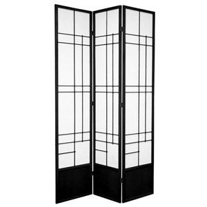 7 ft. Tall Eudes Shoji Screen - Black - 3 Panels