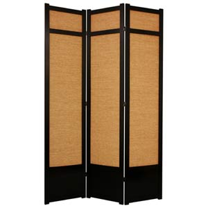 Black Three-Panel 84-Inch Jute Shoji Screen