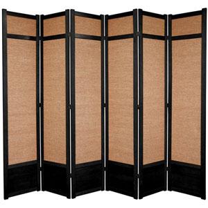 Seven Ft. Tall Jute Shoji Screen - Black Six Panel, Width - 105 Inches
