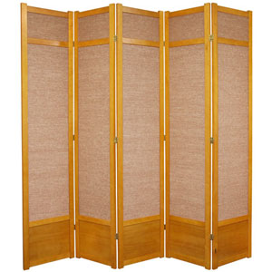 Seven Ft. Tall Jute Shoji Screen - Honey Five Panel, Width - 87.5 Inches