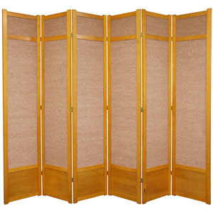 Seven Ft. Tall Jute Shoji Screen - Honey Six Panel, Width - 105 Inches