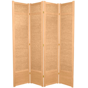7-Foot Tall Jute Shoji Screen - 4 Panel - Natural