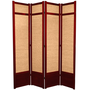 7-Foot Tall Jute Shoji Screen - 4 Panel - Rosewood