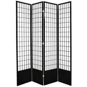 7-Foot Tall Window Pane Shoji Screen - Black - 4 Panels