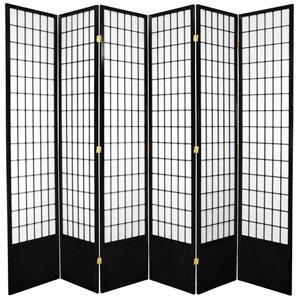 7-Foot Tall Window Pane Shoji Screen - Black - 6 Panels