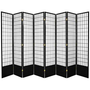 7-Foot Tall Window Pane Shoji Screen - Black - 8 Panels