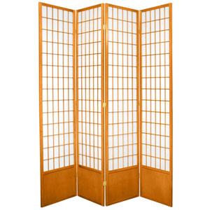 7-Foot Tall Window Pane Shoji Screen - Honey - 4 Panels