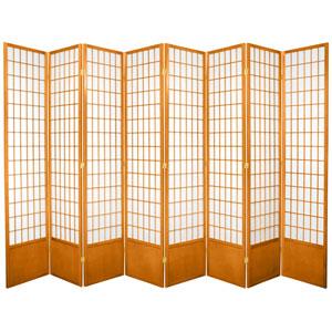 7-Foot Tall Window Pane Shoji Screen - Honey - 8 Panels