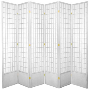7-Foot Tall Window Pane Shoji Screen - White - 6 Panels