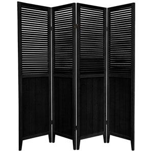 6 ft. Tall Black Four Panel Beadboard Room Divider
