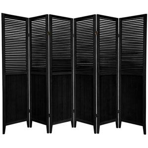 6 ft. Tall Black Six Panel Beadboard Divider