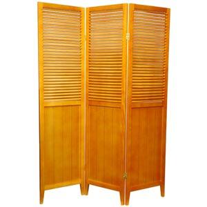 6 ft. Tall Honey Three Panel Beadboard Room Divider